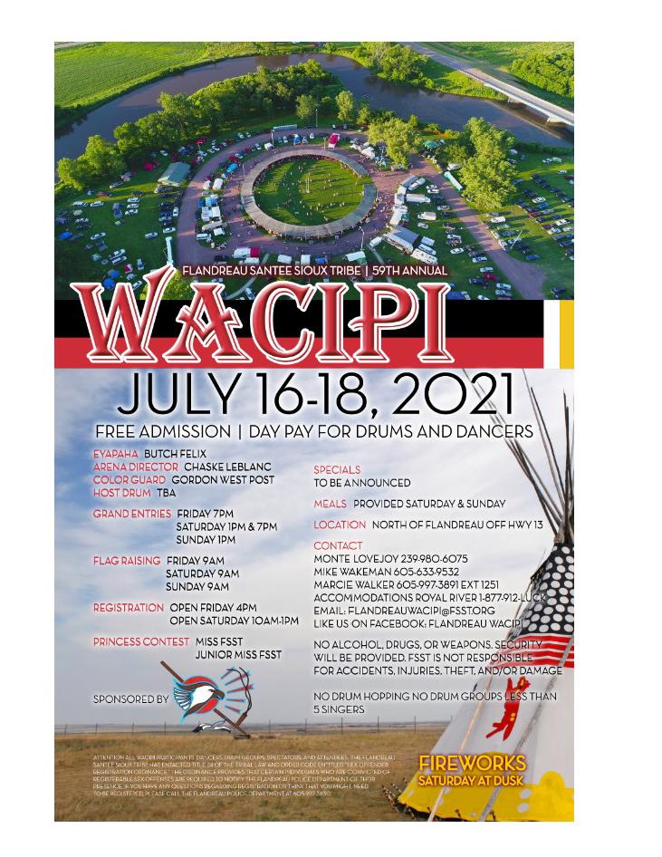 2021 Flandreau Santee Sioux Tribe Wacipi poster